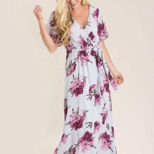 NWOT Morning Lavender Bethany floral maxi dress